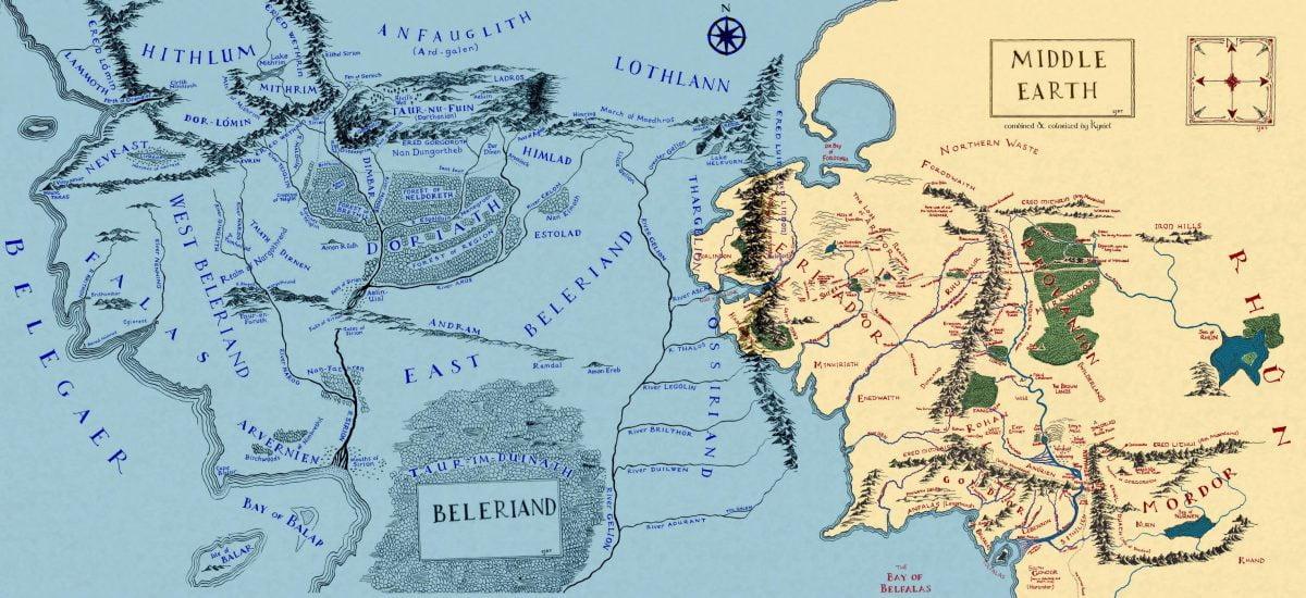 La Tierra Media con Beleriand anegado