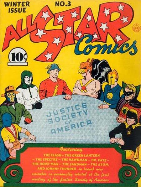 La primera aparición de La Sociedad de la Justicia de América en el #3 de All Star comics.