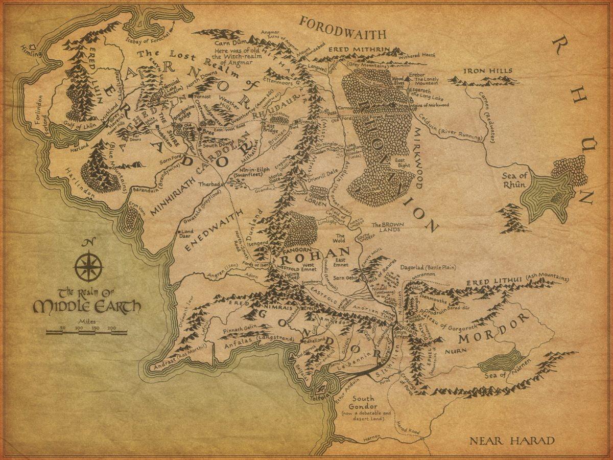 Mapa con Arnor y Gondor