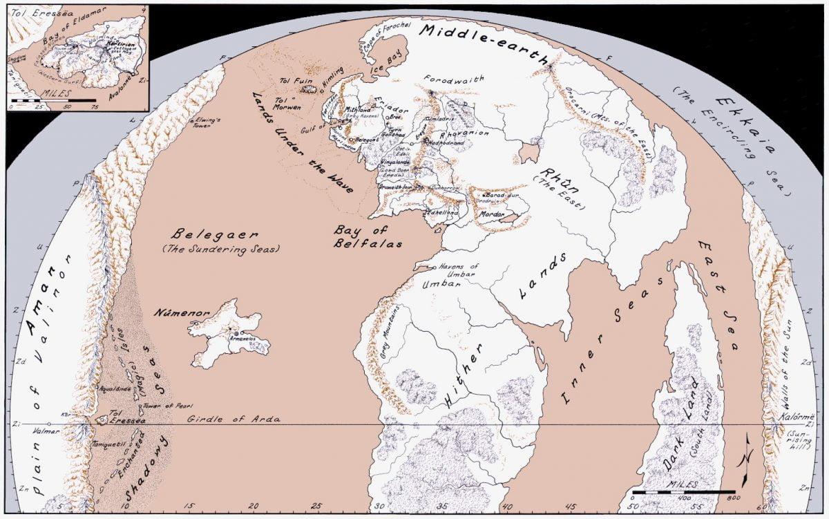 Mapa con Númenor