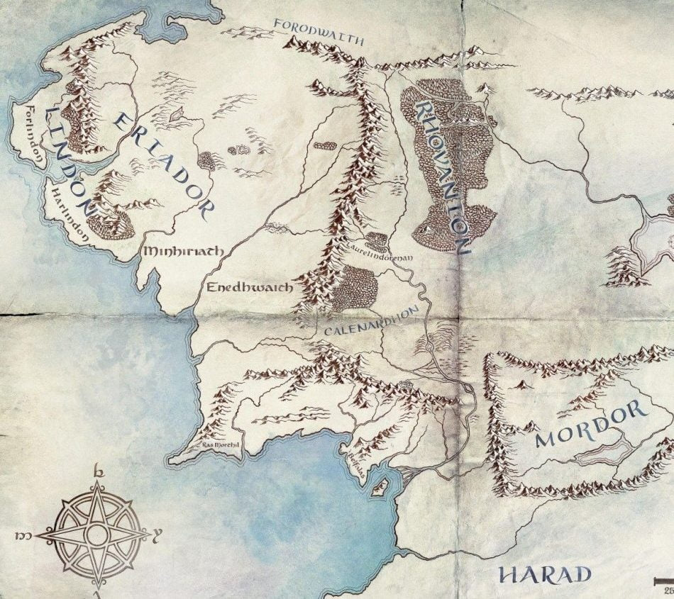 Mapa de la Tierra Media en la Segunda Edad