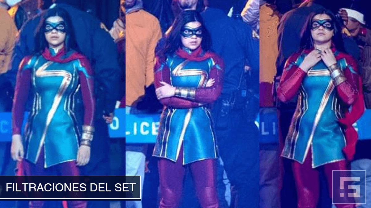 Filtraciones del set de Ms. Marvel - Iman Vellani con el traje representativo de Ms. Marvel