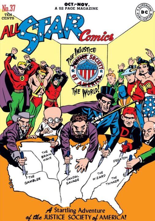 Primera aparición de La Sociedad de La Injusticia en el #37 de All Star comics